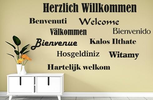 Wandtattoo Willkommen, Welcome in verschiedenen Sprachen - WT-0119