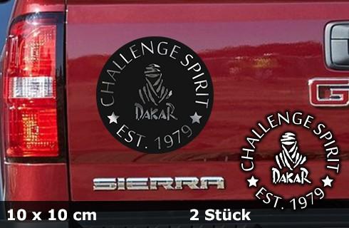 DAKAR Autoaufkleber Sonderedition | silberchrom | 15 x 15 cm | 2er Set | AG-0066