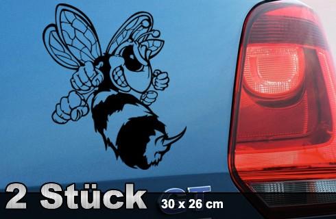 Böse Biene Auto Aufkleber 30 x 26 cm 2 Stück | AG-0013