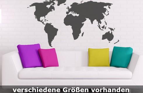 Wandtattoo Weltkarte bis zu einer Größe von 180 x 93 cm WT-0003