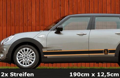 DAKAR Seitenstreifen | 190 x 12,5 cm | schwarz / tieforange | AG-0089