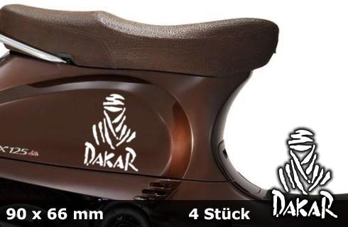 DAKAR Motorradaufkleber | 90 x 66 mm | 4er Set | AG-0031