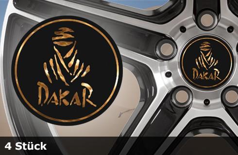 DAKAR Felgenaufkleber Chrom | 4er Set | schwarz-matt / goldchrom | AG-0078