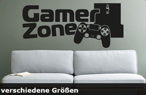 Wandtattoo Gamer Zone bis zu einer Größe von 120 x 53cm - WT-0109