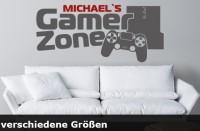 Wandtattoo Gamer Zone mit Namen bis zu einer Größe von 120 x 53cm - WT-0111