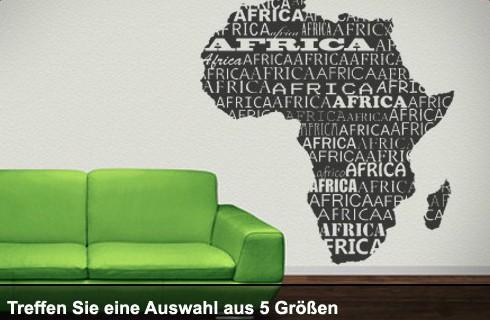 Wandtattoo Afrika Kontinent bis 100 x 95cm, Africa WT-0004