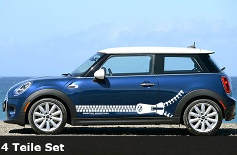 Mini Cooper Reißverschluß , Streifen; Aufkleber 56 x 170cm | 4-teilig | AG-0015