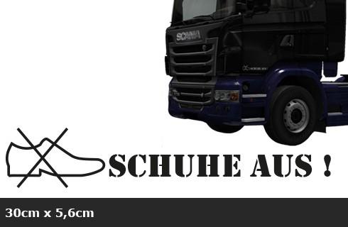 Schuhe aus! Aufkleber 2er Set, LKW, Scania, MAN, Mercedes, DAF, JDM Truck AG-0084