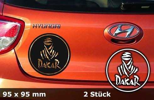 DAKAR Autoaufkleber | 95 x 95 mm | 2er Set | chrom | AG-0023