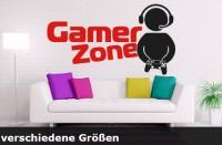 Wandtattoo Gamer Zone 2-farbig  mit Namen bis zu einer Größe von 120 x 66cm - WT-0112