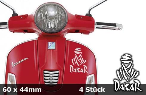 DAKAR Motorradaufkleber | 60 x 44 mm | 4er Set | AG-0024